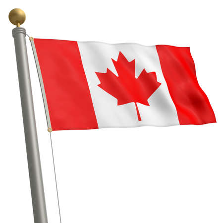 flagpole: The flag of Canada fluttering on flagpole Stock Photo