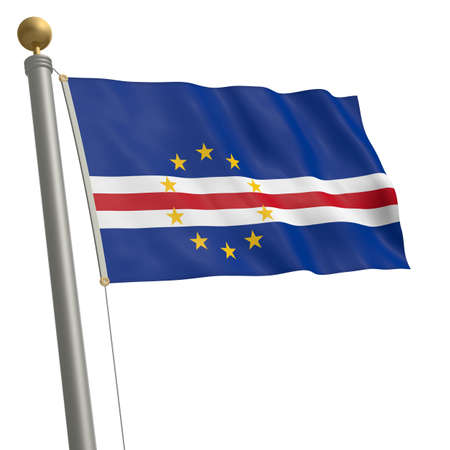 wafting: The flag of Cape Verde fluttering on flagpole Stock Photo