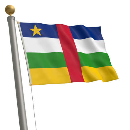 wafting: The flag of Central African Republic fluttering on flagpole Stock Photo
