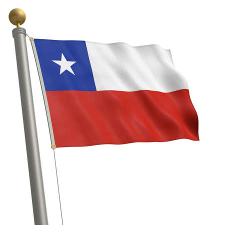 wafting: The flag of Chile fluttering on flagpole