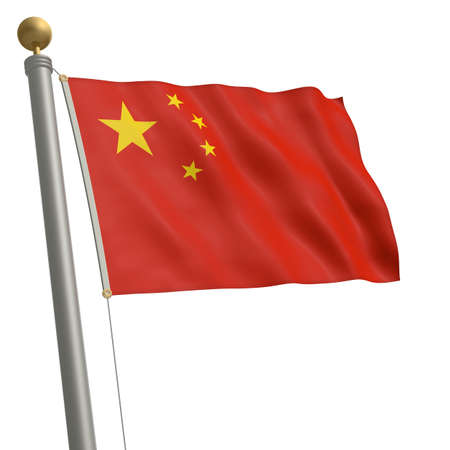 wafting: The flag of China fluttering on flagpole Stock Photo