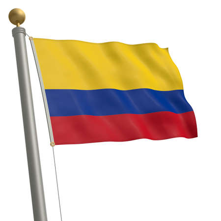 wafting: The flag of Colombia fluttering on flagpole