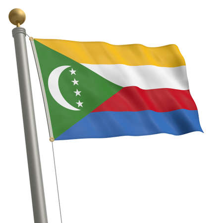 wafting: The flag of Comoros fluttering on flagpole