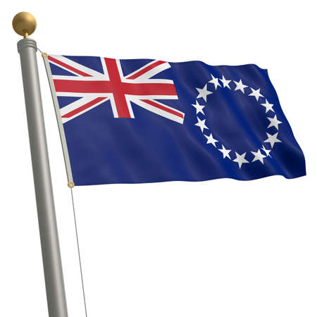 wafting: The flag of Cook Islands fluttering on flagpole