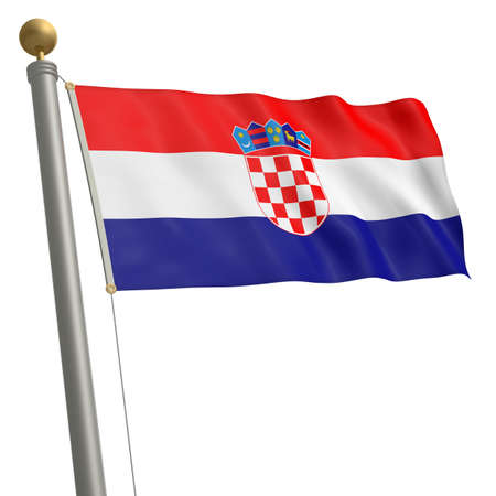 wafting: The flag of Croatia fluttering on flagpole