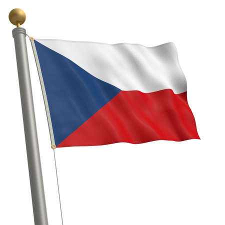 wafting: The flag of Czech Republic fluttering on flagpole