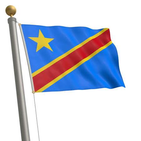 wafting: The flag of Democratic Republic of the Congo fluttering on flagpole