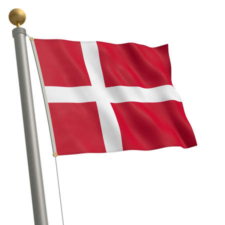 wafting: The flag of Denmark fluttering on flagpole