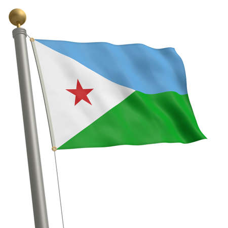 flagpole: The flag of Djibouti fluttering on flagpole
