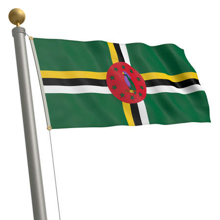 middle america: The flag of Dominica fluttering on flagpole