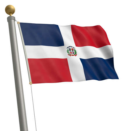 wafting: The flag of Dominican Republic fluttering on flagpole