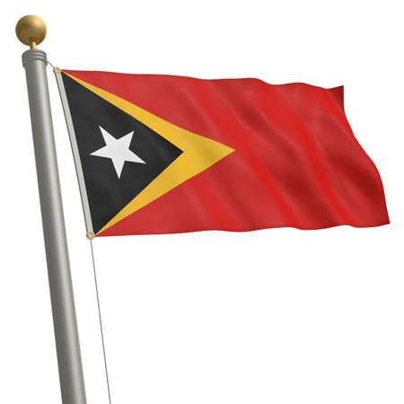 The flag of East Timor fluttering on flagpole
