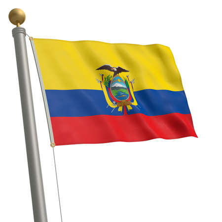 wafting: The flag of Ecuador fluttering on flagpole