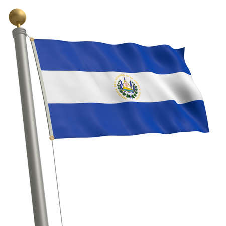middle america: The flag of El Salvador fluttering on flagpole