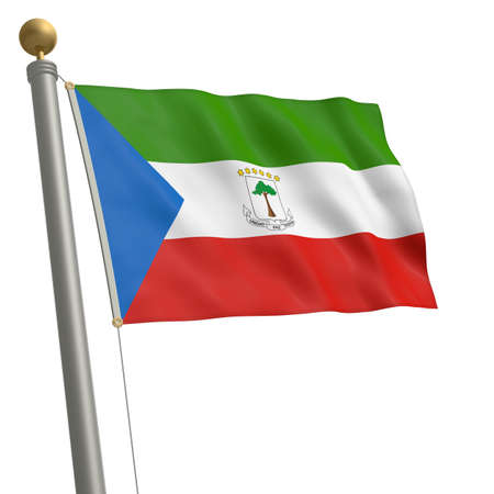 wafting: The flag of Equatorial Guinea fluttering on flagpole Stock Photo
