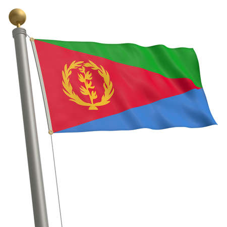 wafting: The flag of Eritrea fluttering on flagpole