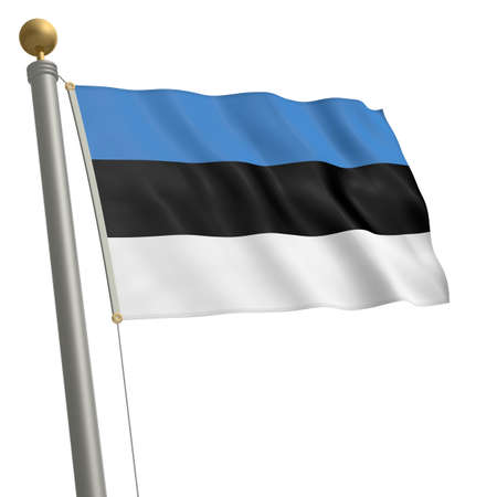 wafting: The flag of Estonia fluttering on flagpole Stock Photo