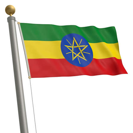 wafting: The flag of Ethiopia fluttering on flagpole Stock Photo