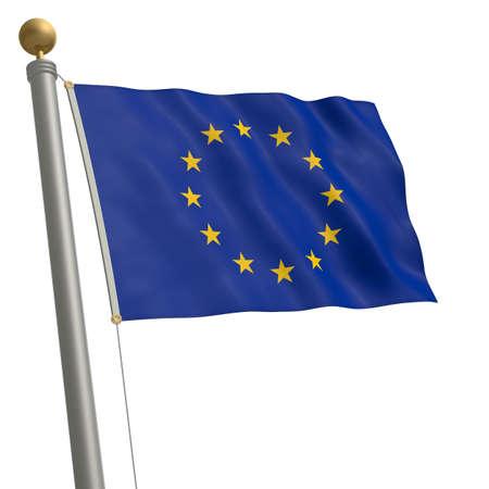 flagpole: The flag of EU fluttering on flagpole