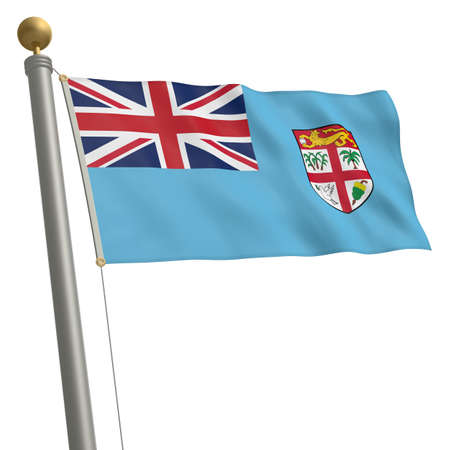 wafting: The flag of Fiji fluttering on flagpole