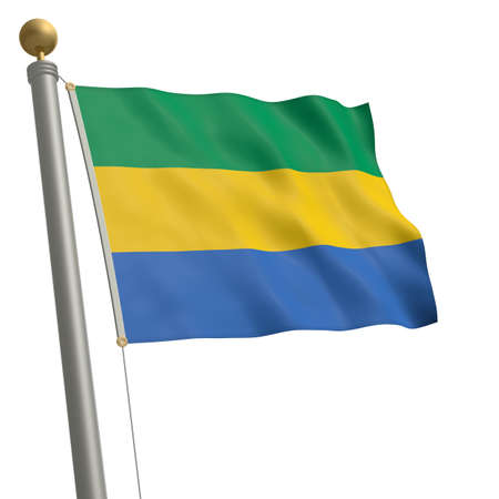 wafting: The flag of Gabon fluttering on flagpole