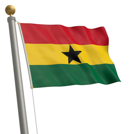 wafting: The flag of Ghana fluttering on flagpole Stock Photo