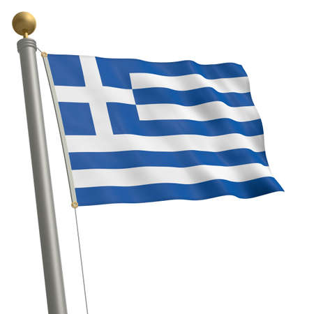 wafting: The flag of Greece fluttering on flagpole Stock Photo