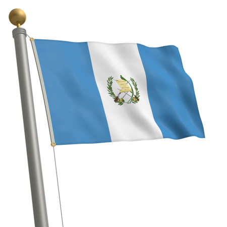 wafting: The flag of Guatemala fluttering on flagpole