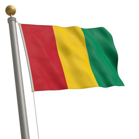 flagpole: The flag of Guinea fluttering on flagpole Stock Photo