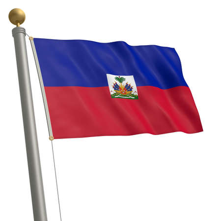 middle america: The flag of Haiti fluttering on flagpole