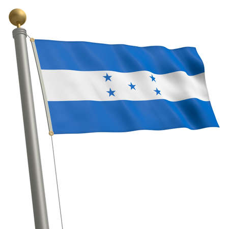 middle america: The flag of Honduras fluttering on flagpole