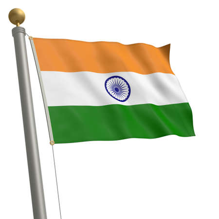 wafting: The flag of India fluttering on flagpole