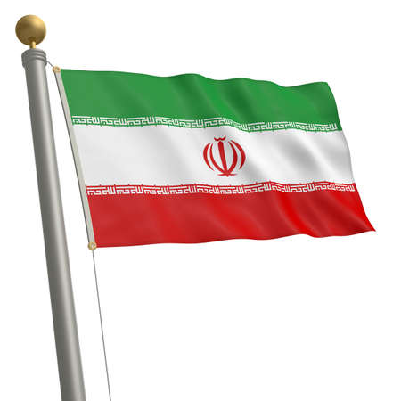 wafting: The flag of Iran fluttering on flagpole