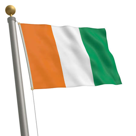wafting: The flag of Ivory Coast fluttering on flagpole Stock Photo