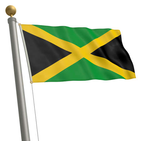 wafting: The flag of Jamaica fluttering on flagpole