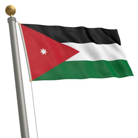 flagpole: The flag of Jordan fluttering on flagpole