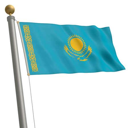 flagpole: The flag of Kazakhstan fluttering on flagpole