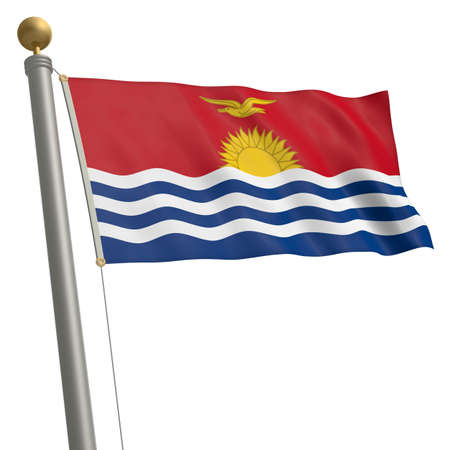 flagpole: The flag of Kiribati fluttering on flagpole