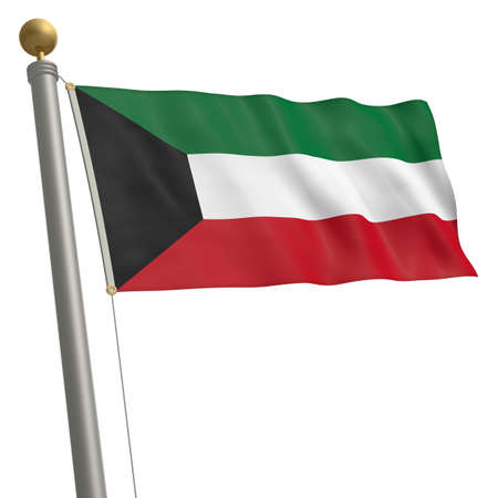 wafting: The flag of Kuwait fluttering on flagpole Stock Photo