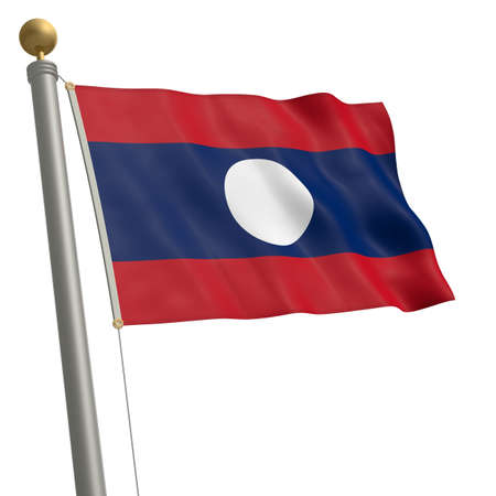 waft: The flag of Laos fluttering on flagpole