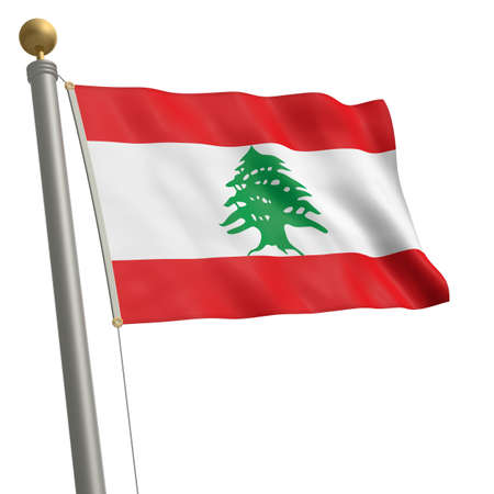 wafting: The flag of Lebanon fluttering on flagpole Stock Photo