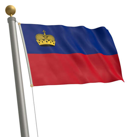 wafting: The flag of Liechtenstein fluttering on flagpole Stock Photo