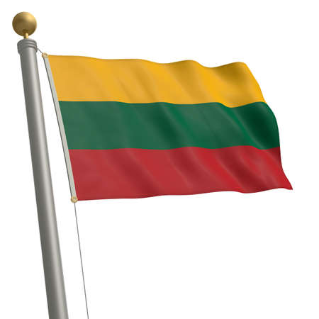 wafting: The flag of Lithuania fluttering on flagpole Stock Photo