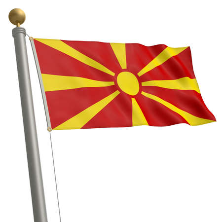 waft: The flag of Macedonia fluttering on flagpole