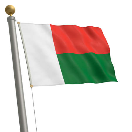 wafting: The flag of Madagascar fluttering on flagpole