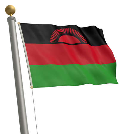 flagpole: The flag of Malawi fluttering on flagpole Stock Photo