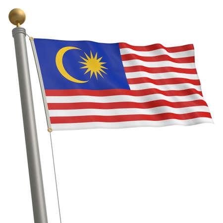 flagpole: The flag of Malaysia fluttering on flagpole