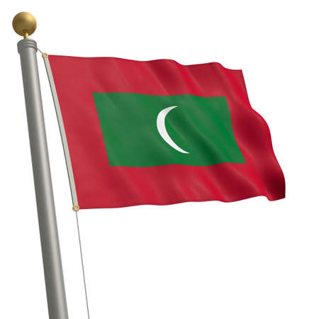 wafting: The flag of Maldives fluttering on flagpole