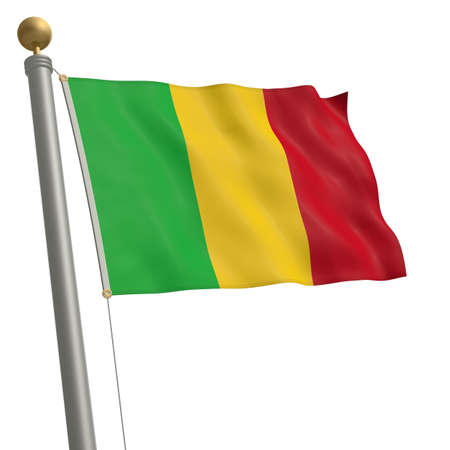flagpole: The flag of Mali fluttering on flagpole Stock Photo
