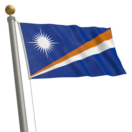 wafting: The flag of Marshall Islands fluttering on flagpole